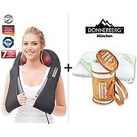 Donnerberg® Schulter Massagegerät für Nacken Schulter Rücken | Das Original Nackenmassagegerät mit Wärme | 3D-Rotation Massage | Set Massagegegerät mit Bambuskissen