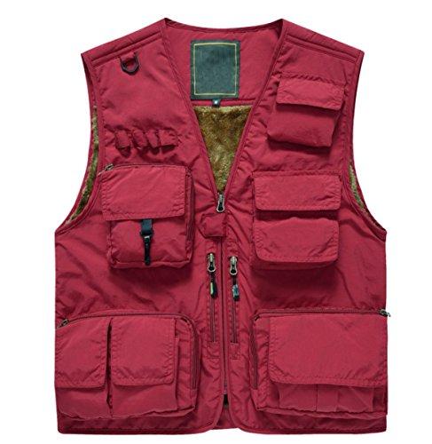 YanLL Mens Vestito Impermeabile Del Velluto Multipocket Gilet Caccia Camminare Fotografia Pesca All'aperto Red