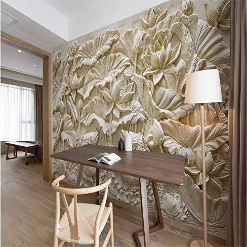 Abihua Wandbilder Benutzerdefinierte Fototapete Wandaufkleber Stein Carving Lotus Teppich Hintergrundbild Für Wände 3D 480Cm X 290Cm