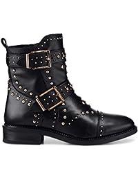 Another A Damen Damen Biker-Boots aus Leder, Stiefel in Schwarz mit  robuster Profil 2014c7d330