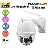 FLOUREON Caméra IP sans Fil PTZ Extérieur Anti-foudre HD 1080p ZOOM 4X Vision Nocturne Détection de Mouvement Alarme par Mail CCTV ONVIF WIFI Vision à Distance par Smartphone