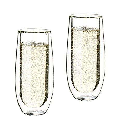 Glassquisite - Design-Sektgläser - doppelwandige Gläser - 2er Set mit je 150 ml - Schwebe-Effekt