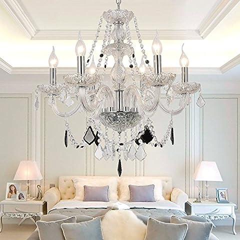 HuaJing® Lámpara de cristal de vidrio de la sala de estar de lujo y un elegante restaurante araña de cristal araña de cristal araña de cristal de 6 dormitorios