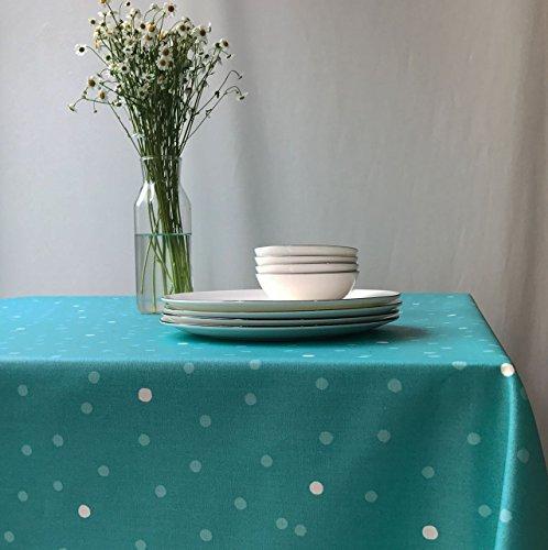 Fleur de Soleil - Nappe enduite ronde ou ovale Confettis turquoise Dimension - ronde diam 160cm, Finition - Ourlée, Matière - Coton enduit