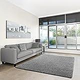 Shaggy-Teppich | Flauschiger Hochflor fürs Wohnzimmer, Schlafzimmer oder Kinderzimmer | einfarbig, schadstoffgeprüft, allergikergeeignet in Farbe: Grau; Größe: Muster