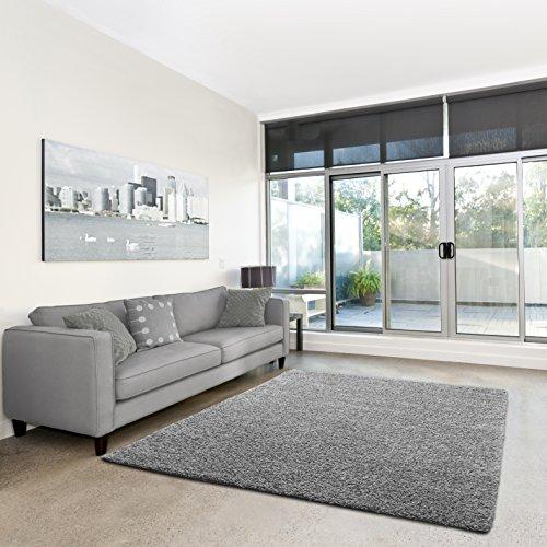 Shaggy-Teppich | Flauschiger Hochflor fürs Wohnzimmer, Schlafzimmer oder Kinderzimmer | einfarbig, schadstoffgeprüft, allergikergeeignet in Farbe: Grau; Größe: 120 x 170 cm