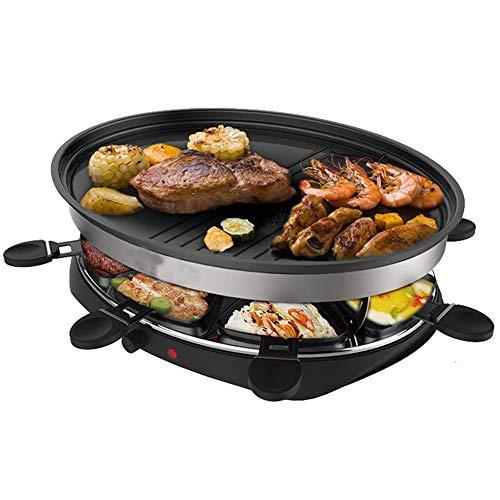 Elektro-Raclette-Grill Professioneller Tisch-Party-Grill für 8 Personen mit 8 Mini-Antihaft-Raclette-Grillpfannen Große traditionelle Grillmaschine 1300W