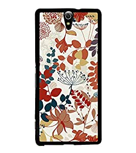 Flowers Leaves Pattern 2D Hard Polycarbonate Designer Back Case Cover for Sony Xperia C5 Ultra Dual :: Sony Xperia C5 E5533 E5563