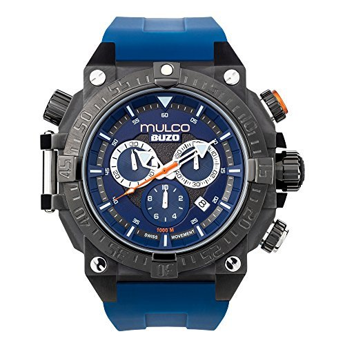 Mulco MB6-92565-045 Buzo Dive Stainless Steel Blue Silicone Band