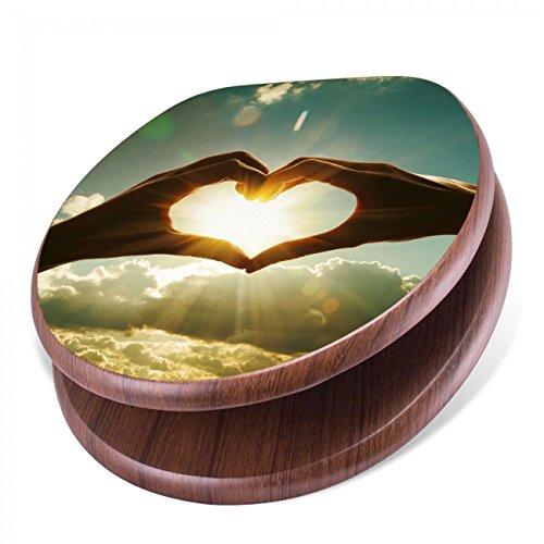 BANJADO Design Toilettensitz mit Absenkautomatik, WC-Sitz Holz, Klodeckel mit Metall Scharnieren, Toilettendeckel mit Motiv Sonne im Herzen