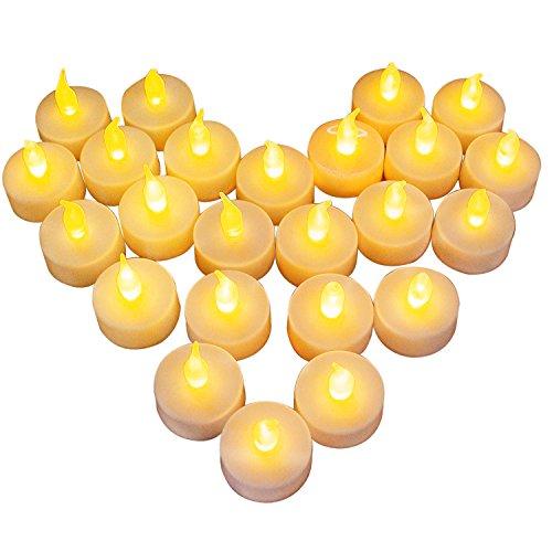 elektrisches teelicht 24 LED Kerzen, Diyife® LED Flammenlose Tealights, Flackern Teelichter, elektrische Kerze Lichter Batterie Dekoration für Weihnachten, Weihnachtsbaum, Ostern, Hochzeit, Party [Batterien enthalten]