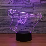 Leisurely Lazy New Pistol Gun Shaped 3D Optical Illusion Lamp 7 Colors Change and 15 Keys Remote Control LED Table Desk Lamp for Home Bedroom Decoration