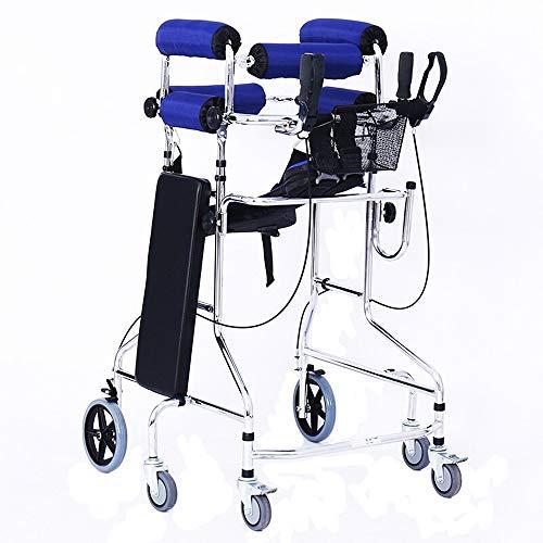 HYRL Standing Walk Ständer/Gehhilfe, Zusammenklappbare Sechsrad-Gehhilfe Mit Aluminium-Gehhilfe Für Ältere Menschen Mit Behinderung Für Das Training Der Unteren Extremitäten Standard-Gehhilfe