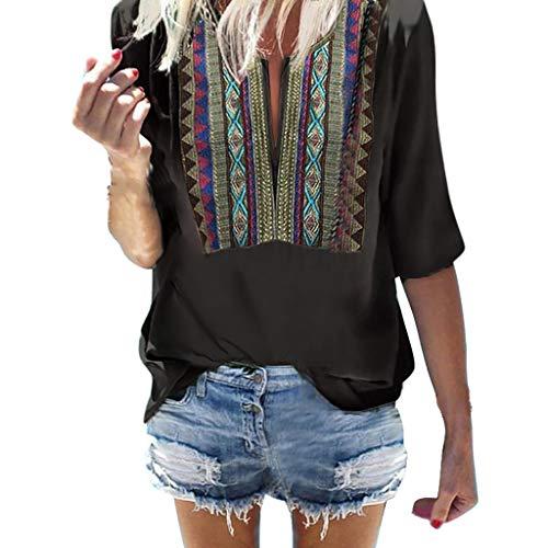 Damen drucken Bluse MEIbax Damen Drucken Shirt Halbe Hülse Schwarz Lose T-Shirt Damen Oberteile BauchfreiDamen Weste Tank Top Crop