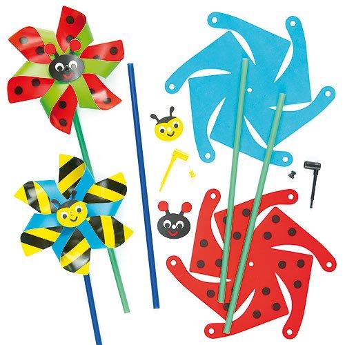 Windmühlen-Bastelset - Biene und Käfer - für Kinder zum Basteln - toll als Dekoration zum Frühling (6 Stück)