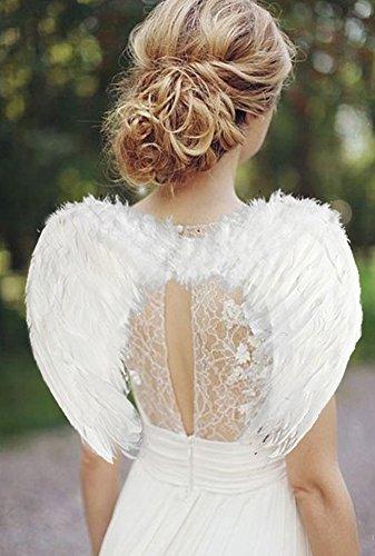 Kostüm Schmetterlingsflügel Weiße (YOEEKU Engel Flügel aus Federn Kostüm für Halloween Karneval Cosplay Fasching (60*45cm,)