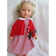 Percalle rosso scuola vestito e cardigan lavorato a maglia 7688eefefc0