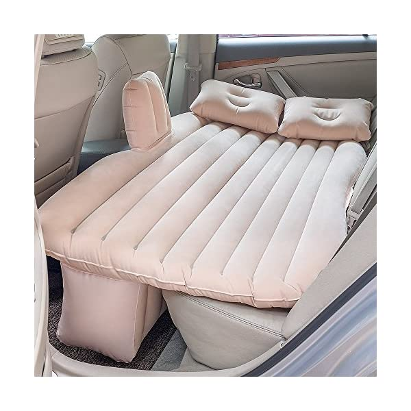 Car Inflatable Mattress Car Bed Mobile Cushion Camping Air Bed with Motor Pump Two Pillows for Travel and Sleep Rest  Material: PVC flannelette and Oxford cloth Moisture resistant, eco-friendly. It is very easy to clean, light weight. 1