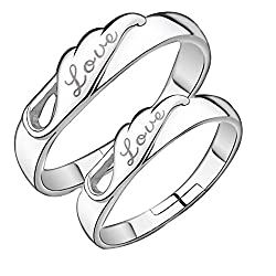 19 Likes Metal Silver Couple Ring For Women & Men