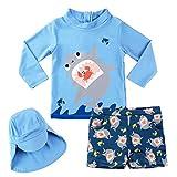 Garçons Maillots de Bain, Enfants Costume de Natation 3-Pièces Anti-UV T-Shirt et...