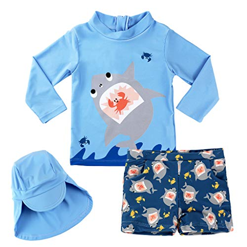 Junge Bademode Zweiteiliger Badeanzug UV-Schutz Bade-Set Langarm T-Shirt Badeshorts mit Kinder Badekappe -