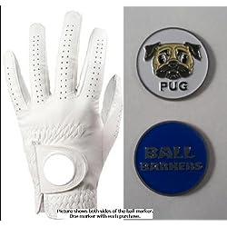 Bola Barkers Pug azul marcador de bola w/guante de Golf MLH medio grande de carlino