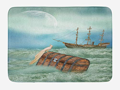 tgyew Fantasy Bath Mat, Antique Old Trunk in Ocean Waves with Magic Bird Pirate Boat Picture, Plush Bathroom Decor Mat with Non Slip Backing, 23.6 W X 15.7 W Inches, Mint Green Pale Caramel - Bird Antique Pictures