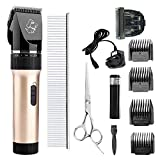 Dog Clippers,Pet Grooming Trimmer Kit with Low Noise and 4 Comb Guides Cordless Rechargeable Pet Hair Shaver for Dog Cat Small Animal.(Gold)