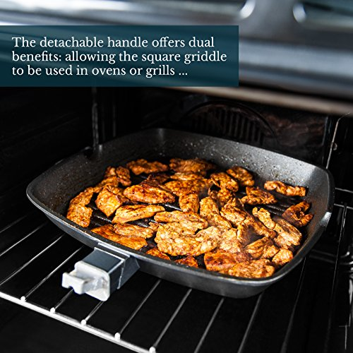 Savisto Premium Non-Stick Griddle Pan For Gas/Induction and Electric Hobs with Detachable Handle, Black, 28 cm