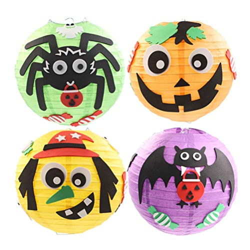 Toyvian Lanterns Halloween KARTON LANTERIES DIY Für Innen Ooudoor Halloween Party DEKOR 4 Stücke (BAT + Schild + KÜRBIS + SPINNE)