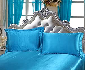 Dehman 2X 100-Percent Silky Satin Pillowcase for Hair Beauty, Prevent Side Sleeping Wrinkles, Have Good Dreams (Lakeblue, Toddler Size,12X19 INCHES)