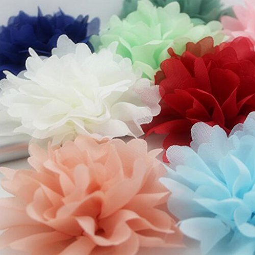 LOVIVER 5 Stücke 11 cm Dia Chiffon Blütenköpfe Hochzeit Seidenpapier Pompons - Rot - Schuhe Blumensträuße