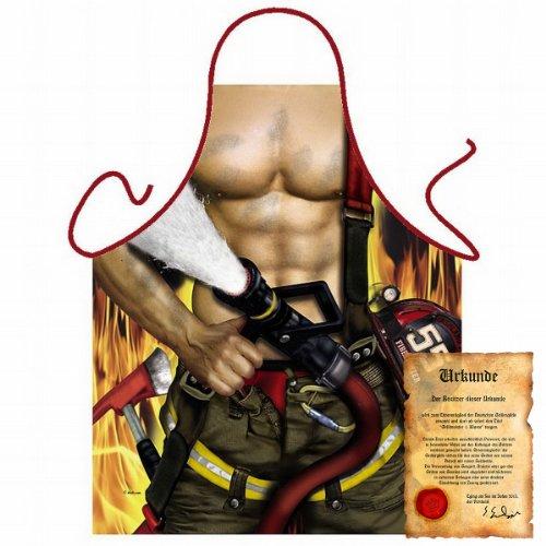 Kostüm Feuerwehrmann Hat - trag-das bedruckte Karneval Grillschürze - sexy Motiv: Feuerwehrmann - coole lustige Fasching Party Koch Schürze Latzschürze Fastnacht