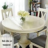 YIRE Transparente runde Tischdecke Wasserdichte Anti-heiße Anti-Öl-Matte Weichglas Tischdecke PVC (größe : 80cm Round)