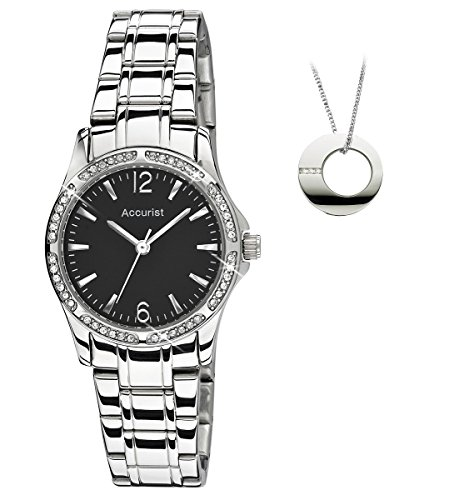 Accurist Stone Set Black Dial Stainless Steel Bracelet Ladies Watch with Free Pendant LB1744BG