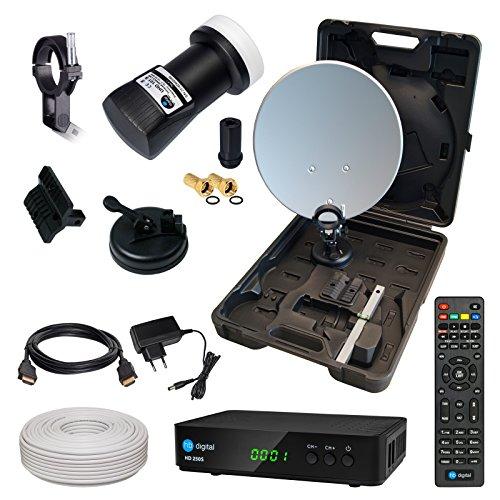 HD Camping Sat Anlage im Koffer von HB-DIGITAL:  Mini Sat Schüssel 40cm Anthrazit ➕ HD 250S Receiver ➕ UHD Single LNB 0,1 dB ➕ 10m SAT-Kabel inkl. F-Stecker  Full HD fähig