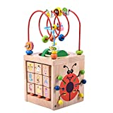 6-in-1 Wooden Cube Toys Activity Centre Multifunction Bead Maze Cube Learning Toys