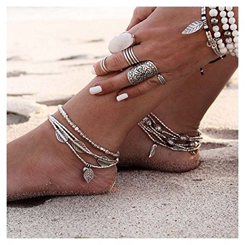 Simsly Strand Fußkette Fuß Kette mit Blättern Zubehör Schmuck für Frauen und Mädchen (Gold) (Kostüm Schmuck Armbänder Uk)