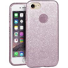 EGO ® Carcasa Brillante para iPhone 7, Rosa Funda Protección Case Brocado Silicona Elastica Diamante Luxus