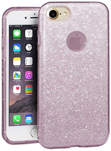 EGO  Glitzer Schutzhülle für iPhone 5 5S SE, Pink Back Case Bumper Glänzend Transparente Luxus Bumper TPU Bling Weiche Glamour Handy Cover Silikon Glitter Lipgloss Pink