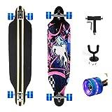 Yorbay Feldus 41' Longboard Drop Through Skateboard Komplettboard Belastbar bis 100kg mit T-Tool und Wandhalter (Blauer Hai Räder Blau mit LED)
