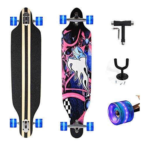 """Yorbay Feldus 41"""" Longboard Drop Through Skateboard Komplettboard Belastbar bis 100kg mit T-Tool und Wandhalter (Blauer Hai Räder Blau mit LED)"""