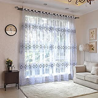 AUSWIND Diamond Flora Pattern Grommet Top Blue Sheer Curtains Fabric Drapes one Panel for Living Room Custom Size (52'' W 84'' H, Blue)
