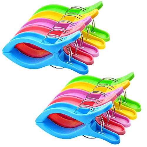 10PCS Jumbo Größe Strandtuch Clips, IPOW Wäscheklammern Kunststoff Clips Qulit Handtuch Klammer für Strand Pool tägliche Wäsche, schwere Badetuch etc. (Quilt Aufhänger)
