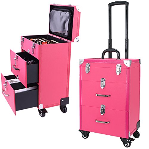 WarmieHomy 3 in 1 Lockable Makeup Trolley Rolling Beauty Nail Case Organizer Storage Box with 2 Drawers, Hot Pink