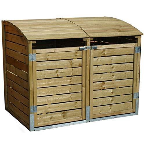 *Mülltonnenbox Holz LEO 2 x 240 Liter Mülltonnenverkleidung Müllbox Müllcontainer*