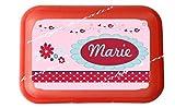 wolga-kreativ Brotdose Lunchbox mit Name Blume und Wunschmotiv mit Trennsteg Viele Motive