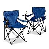 Relaxdays Campingstuhl 2er-Set, klappbar, Armlehnen, Getränkehalter, Picknickstuhl, Outdoor
