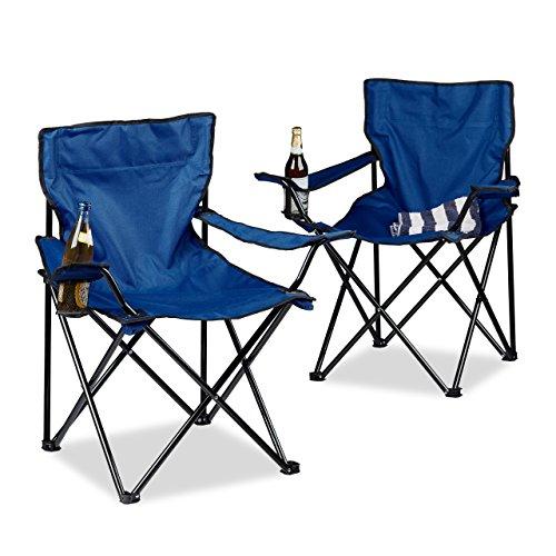 Relaxdays Campingstuhl 2er-Set, klappbar, Armlehnen, Getränkehalter, Picknickstuhl, Outdoor, HBT: 82 x 78 x 50 cm, blau