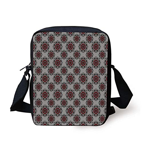 CBBBB Red and Black,Persian Moroccan Middle Eastern Design with Flower Image,Light Grey White and Burgundy Print Kids Crossbody Messenger Bag Purse
